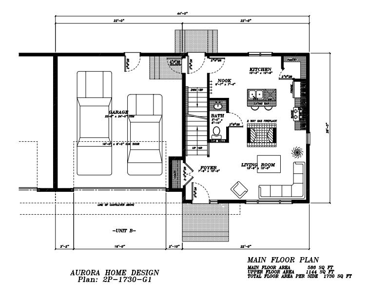 Duplex with double car garages. | Edmonton Aurora Home Design Plan