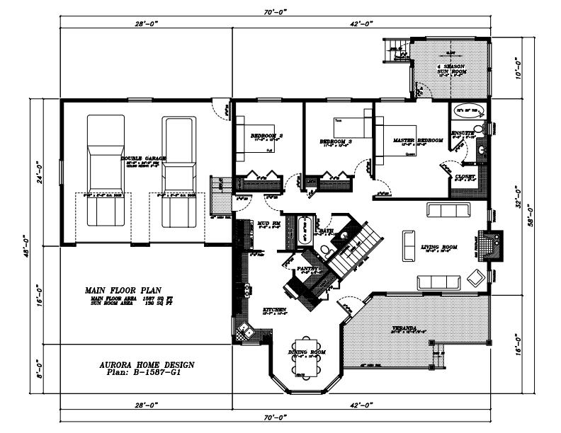 Practical sized 3 Bedroom Bungalow. | Edmonton Aurora Home Design Plan