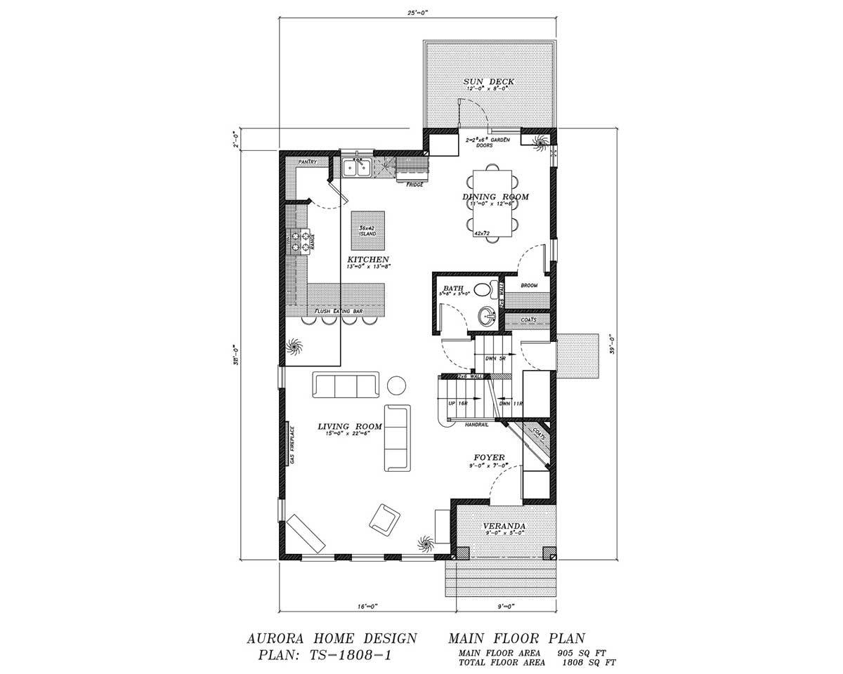 Infill 2 storey with lots of open space. | Edmonton Aurora Home Design Plan