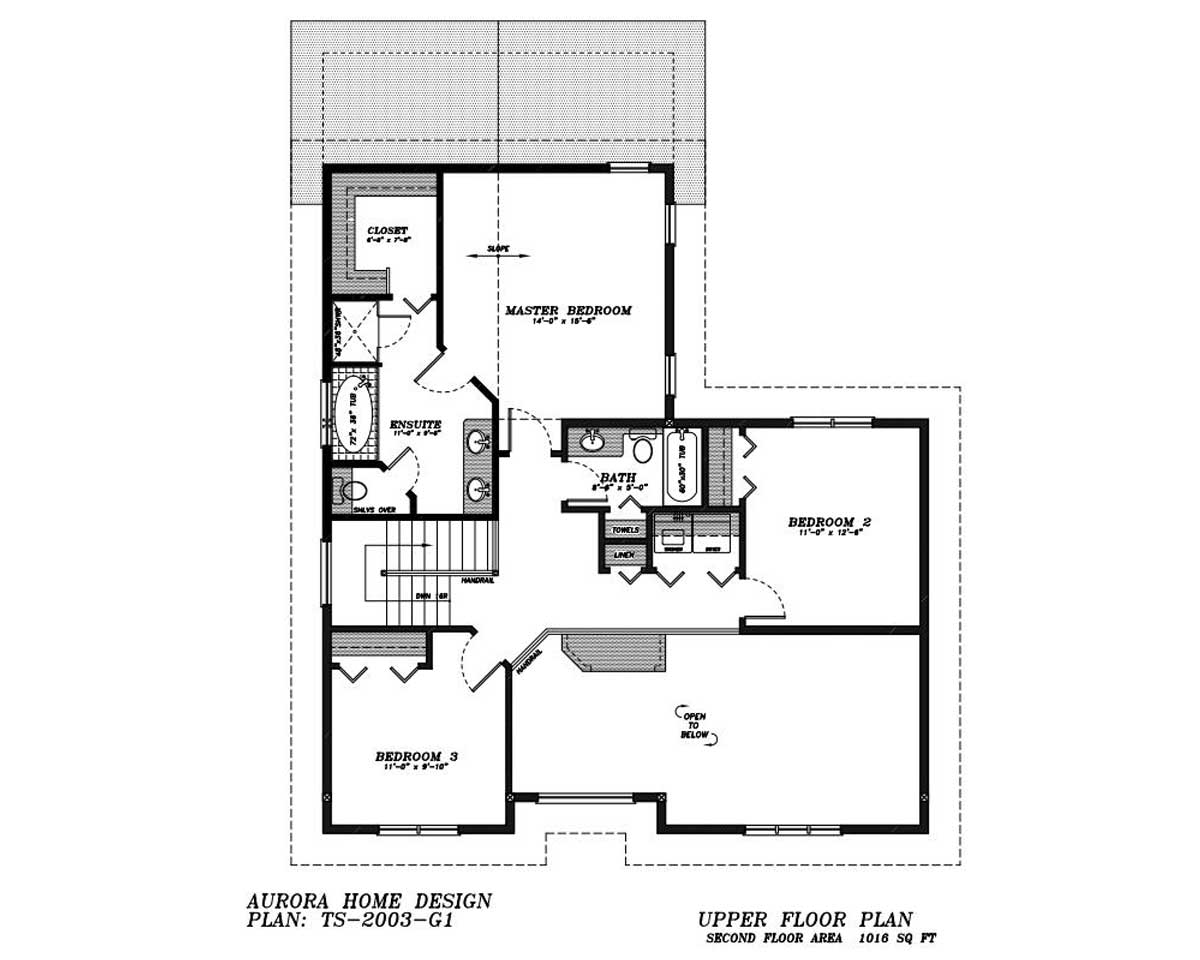 This 2 storey has a rear attached garage for an infill lot. | Edmonton Aurora Home Design Plan