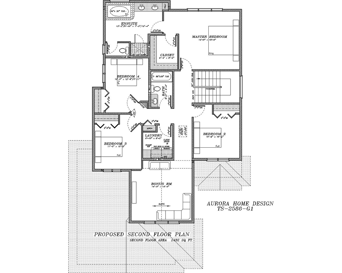 Family sized home, bonus room 2 storey. | Edmonton Aurora Home Design Plan